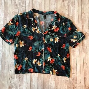Forever 21 Tropical Crop Hawaiian Shirt
